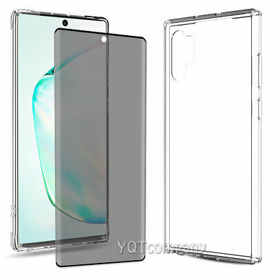 For Samsung Galaxy Note 10+ Plus 5G Clear Case Cover + Privacy Screen protector