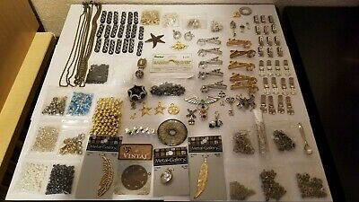 Huge Lot of Jewelry Making Supplies-Findings Beads Chain Filigree Spacers READ