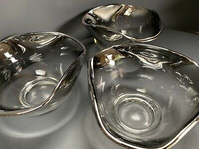 Dorothy Thorpe Style Salad Bowls Silver Fade Snack Nut Candy Dish Mcm Set Of 3