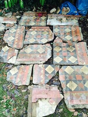 VICTORIAN ANTIQUE ORIGINAL Reclaimed Salvaged Geometric Mosaic Floor Tiles HALL