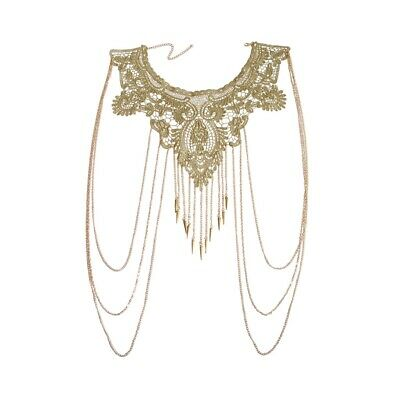 1X(Women Gold Tassels Bikini Crossover Harness Waist Belly Body Chain Neckl K9L1