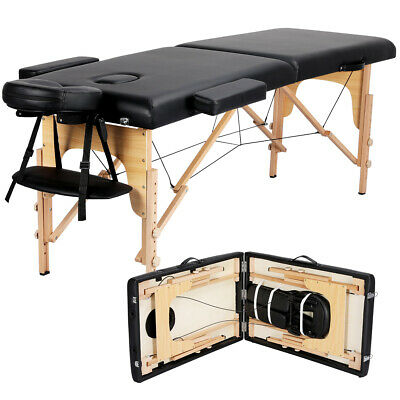 2-Fold Massage Table Adjustable Facial SPA Salon Bed Tattoo Chair Portable Black