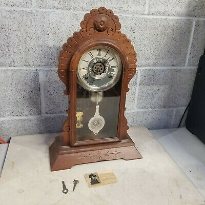 Nice Antique Waterbury Gingerbread 8 Day Mantle Clock Works Circa 1890s