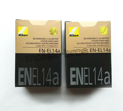 2 x Genuine Original Nikon EN-EL14a EN-EL14 Battery for MH-24 D3300 D5200 D5100