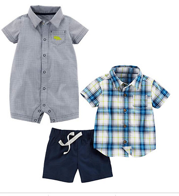 3 Months Troop Explorers Chambray, Carters 2 Pc Shortalls