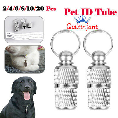 Anti-Lost Pet Dog Cat Puppy ID Address Name Labels Tag Barrel Tube Collar Sliver
