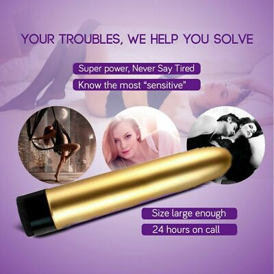 "7"" Powerful Female Multispeed Personal Wand Massager Magic Massage Vibrator Gold"