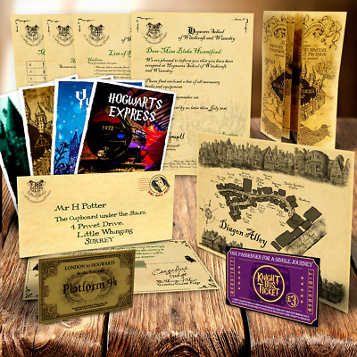 Harry Potter PERSONALISED Hogwarts Acceptance Letter Marauder's Map Diagon Alley
