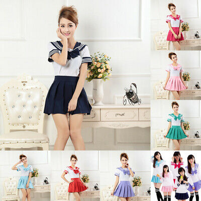 Japanese School Girl Dress Outfit Sailor Uniform Anime Cosplay Costume Suits