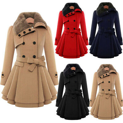 Womens Double Breasted Winter Coat Ladies Fur Collar Warm Parka Jacket Outwear