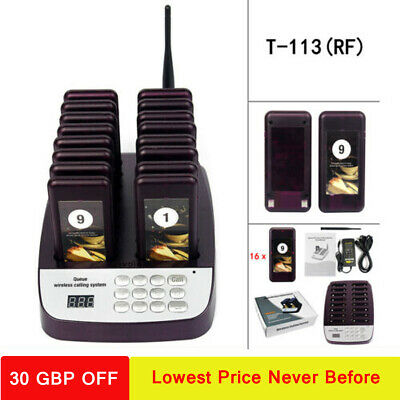 Restaurant 999-channel Wireless Guest Paging Queuing System+16*Coaster Pagers UK