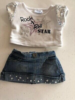 Build A Bear Adorable Denim Skirt With Bling & Rock N Roll Star Top With Sequins