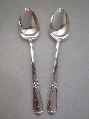 2 pcs: 1847 Rogers Bros Adoration Place Oval Soup Spoons Silverplate Silverware