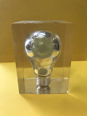 Pierre Giraudon French Pop Art Lucite Light Bulb Sculpture Paperweight