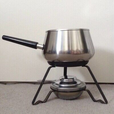 Vintage Retro SIGG Swiss Lovely Shape Stainless Steel Fondue Pan Stand & Burner