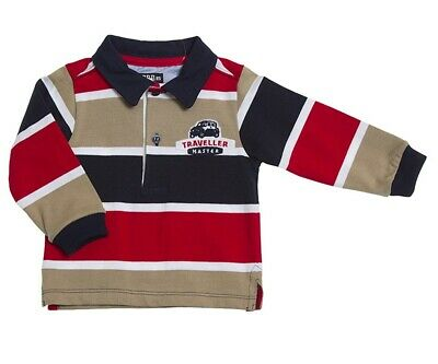 Toddler Boys Shirt Size 3T Red Navy Beige Striped Long Sleeve Rugby Girandola