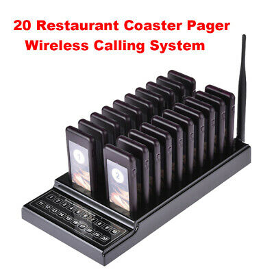 Wireless Calling Equipment Chargeable 20CH 1 Transmitter+20 Call Coaster Pagers