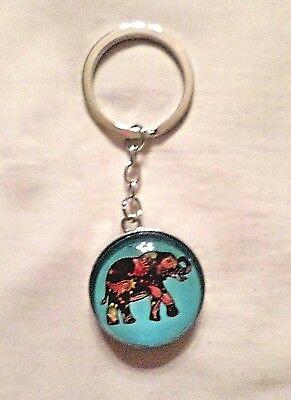 GZ7 Silver edged COLORFUL ELEPHANT keychain with rounded sides