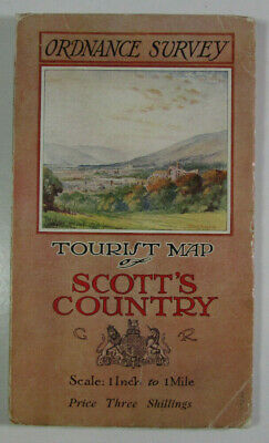 1921 Old Vintage OS Ordnance Survey One-Inch Tourist Map Scott's Country