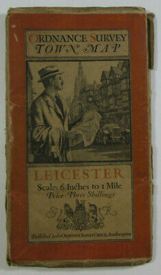 1919 Old Vintage OS Ordnance Survey Six Inch Town Map Leicester Street Plan