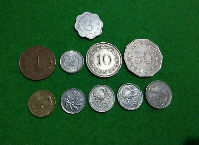 Malta 10 different coins Mils and Cents