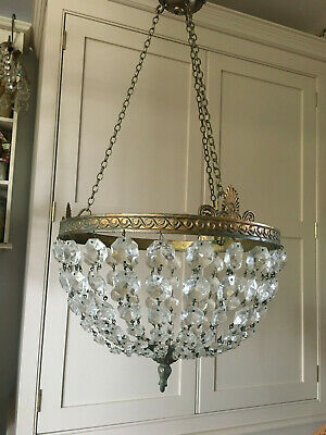 Large Ornate French Antique Lead Crystal And Gilt Brass  Basket Chandelier