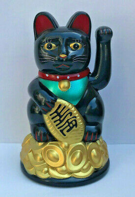 "BLACK Feng Shui BECKONING CAT Wealth Lucky Waving Kitty Maneki Neko 4.5"" Tall"
