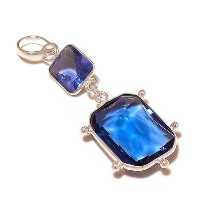 Stunning Faceted Iolite Two Gemstone silver plated Handmade Bezel Boho Pendant