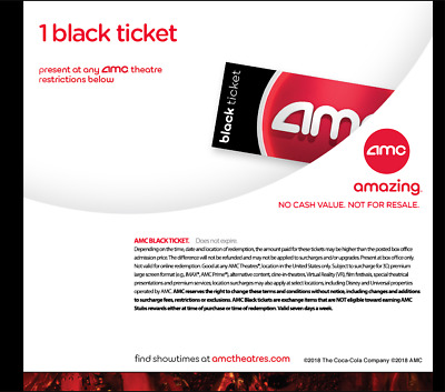 QUICK DELIVERY. AMC Black Movie Tickets. (Any State, Any Movie) - No Exp
