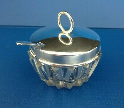 Cut Glass Mustard Pot with Sterling Silver Lid and Spoon - Birmingham 1922