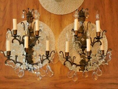 """Pair of 5-Light Vintage Wrought Iron Wall Sconces W/ Faceted Prisms ~ 18"""" High"""
