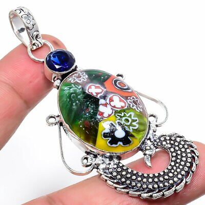 Charming Dichoric Glass,Sapphire 925 Sterling Silver Pendant 2.96 Inch 1566