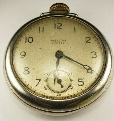 """Vintage Westclox Scotty Pocket Watch """"Runs"""" Hand-Wind / has scratches and rust"""