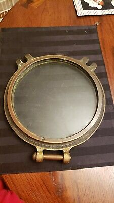 Porthole WIndow Solid  brass heavy very old and rare