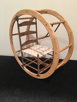 """Roy Superior Signed 1984 Shaker """"Wheel Chair"""" Wooden Sculpture"""