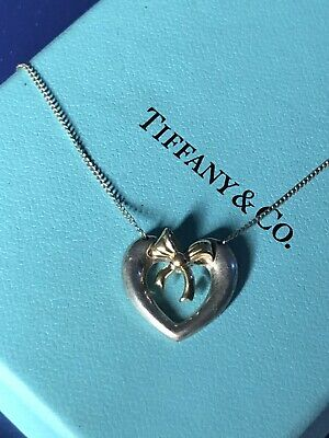 Vintage Tiffany & Co. Sterling Silver ~18K Heart Bow Necklace