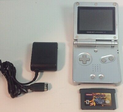 Gameboy Advance SP Handheld Console GBA AGS-001 Silver Charger +1 Game Tested