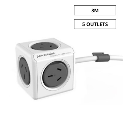 Allocacoc PowerCube 3m Extended USB 5 Power Outlets Grey