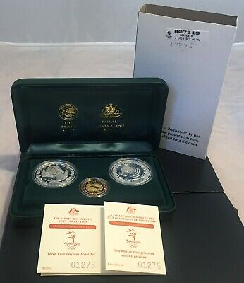 2000  Sydney Olympic Proof Three Coin Set Gold and Silver - Series 6, No. 01275