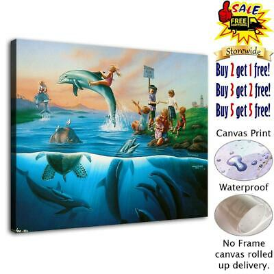 """Dolphins Attraction Home Decor HD Canvas Print Picture Wall Art Painting 12""""x16"""""""