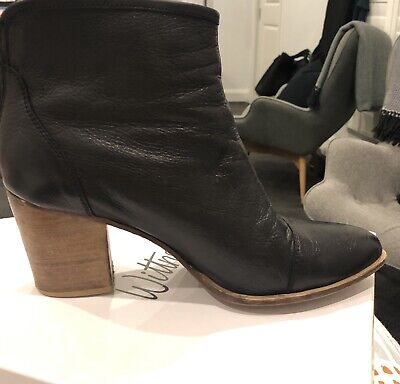 Wittner Black Leather Ankle Boots Heel Exc Cond 40 9