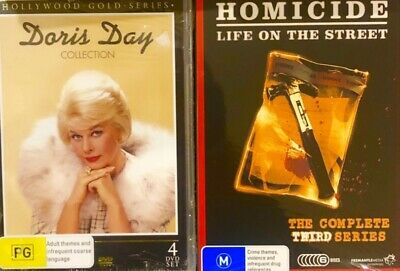 X4 Brand New Sealed-The Doris Day Collection R4 DVD (4 disc set) + Homicide Dvd