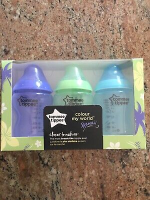 Tommee Tippee Closer to Nature Color My World Feeding Bottles, 9 Ounce, 3 Pack