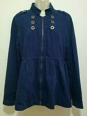 Anthropologie TULLE Jacket Military Style Metal Accents Fun Print Lining SZ LRG