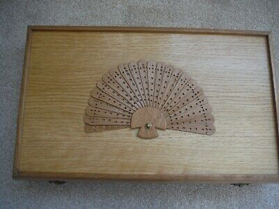 Beautiful Handmade Very Large Wooden Vintage Hand Fan Box  Fully Lined V.g.c.