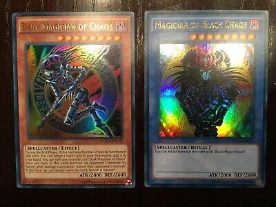 YUGIOH Dark Magician Of Chaos and Magician of Black Chaos NM YGLD-ENC01 ENC02