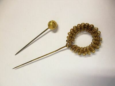 2 hübsche antike vergoldete Hutnadeln / 2 beautiful antique gildet hat pins