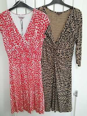 BUNDLE of 2 × Phase Eight Dresses size 10 Red & White + Black & Tan L37 inches