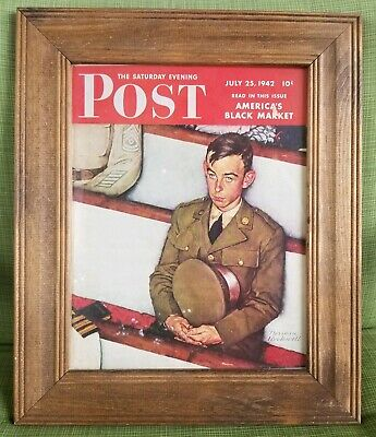 WWII July 1942 COVER ONLY Saturday Evening Post Norman Rockwell Solider framed