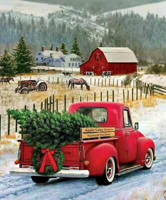 Holidays Cross Stitch Pattern,Christmas Farm, Red Truck